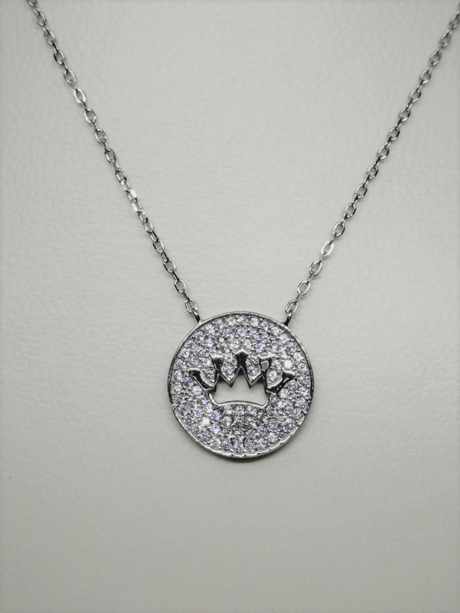 pink girls queen ss crown princess kids sterling cz silver necklace itm pendant
